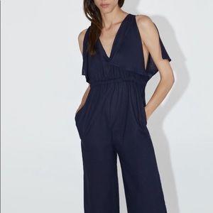 NWT Zara Navy Blue Linen V-Neck Jumpsuit Medium